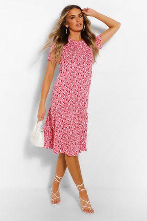 Boohoo Womens Ditsy Floral Tiered Midi Smock Dress - - 4