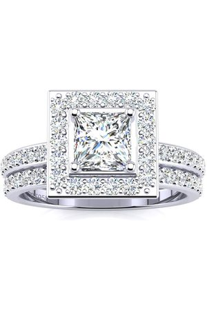 SuperJeweler 1.5 Carat Princess Cut Floating Pave Halo Diamond Bridal Engagement Ring Set in (