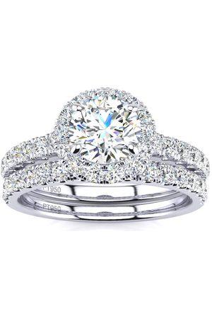 SuperJeweler 1.5 Carat Pave Halo Diamond Bridal Engagement Ring Set in (