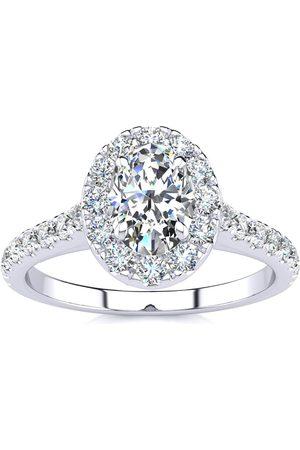 SuperJeweler 1 Carat Oval Shape Halo Diamond Engagement Ring in 14K (4.50 g) (