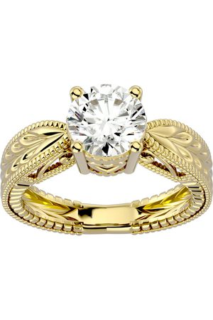 SuperJeweler 2 Carat Moissanite Solitaire Engagement Ring w/ Tapered Etched Band in 14K (5.90 g)