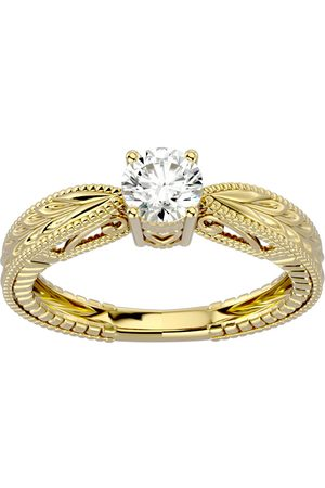 SuperJeweler 1/2 Carat Diamond Solitaire Engagement Ring w/ Tapered Etched Band in 14K (3.80 g) (