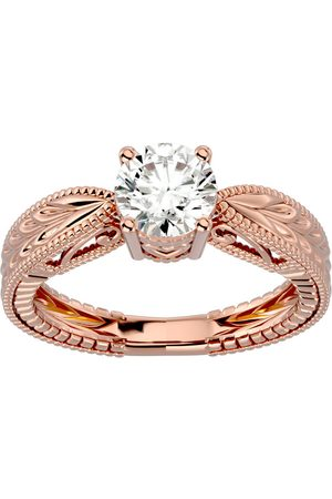SuperJeweler 1 Carat Moissanite Solitaire Engagement Ring w/ Tapered Etched Band in 14K (4.50 g)