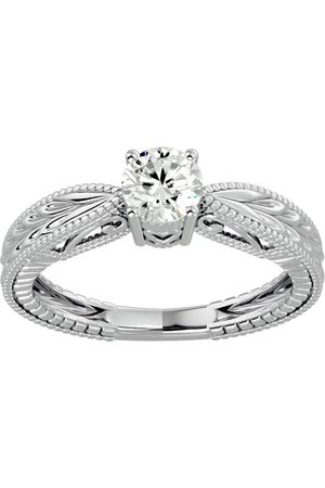 SuperJeweler 1/2 Carat Moissanite Solitaire Engagement Ring w/ Tapered Etched Band in 14K (3.80 g)