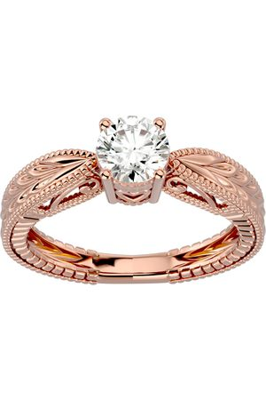 SuperJeweler 3/4 Carat Diamond Solitaire Engagement Ring w/ Tapered Etched Band in 14K (4 g) (