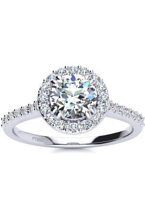 SuperJeweler 1 Carat Round Halo Diamond Engagement Ring in (