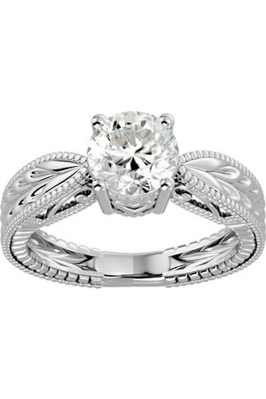 SuperJeweler 1.5 Carat Diamond Solitaire Engagement Ring w/ Tapered Etched Band in 14K (5.20 g) (