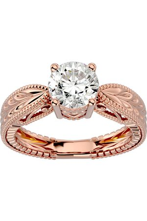 SuperJeweler 1.5 Carat Moissanite Solitaire Engagement Ring w/ Tapered Etched Band in 14K (5.20 g)