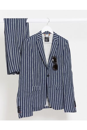 AVAIL London Suits - Skinny fit linen suit jacket in navy stripe