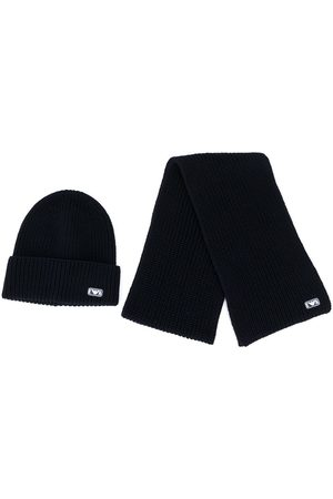 Emporio Armani Logo patch hat and scarf set