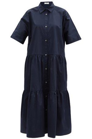 CO Tiered tton-sateen Midi Shirt Dress - Womens - Navy