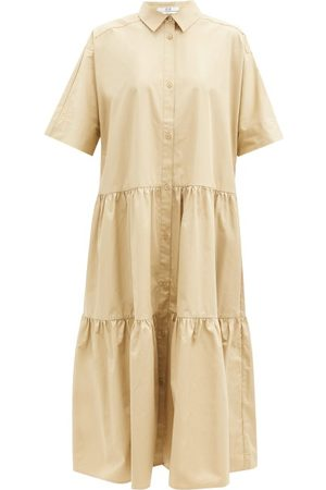 CO Tiered tton-sateen Midi Shirt Dress - Womens - Camel