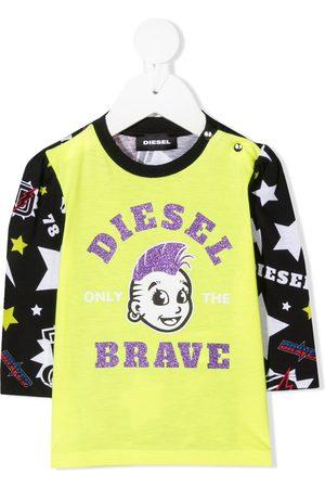 Diesel Tops - Glitter logo print jersey top
