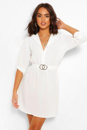 Boohoo Womens Belted Shirt Dress - - 4