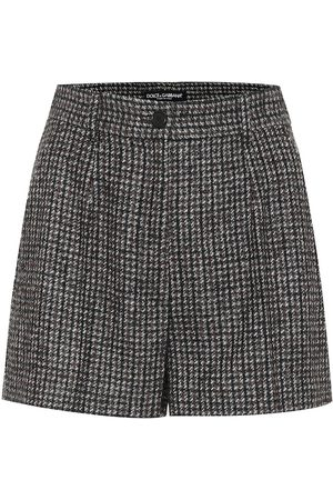 Dolce & Gabbana Checked high-rise wool-blend shorts