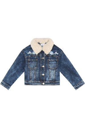 MONNALISA Floral appliqué denim jacket