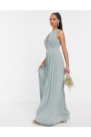 TFNC Women Maxi Dresses - Pleated key hole maxi bridesmaid dress in sage