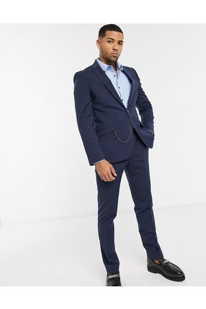 Shelby & Sons Slim suit jacket in navy with pocket chain