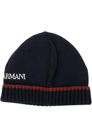Emporio Armani Logo print beanie hat