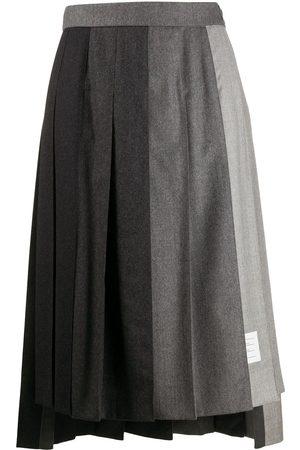 Thom Browne Fun-Mix super 120s pleated skirt - Grey