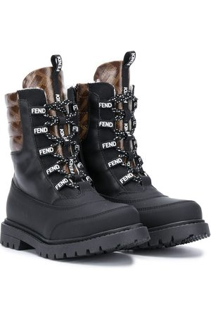 Fendi FF lace-up boots