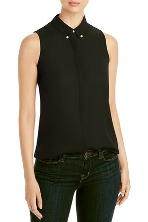 Karl Lagerfeld Imitation Pearl Button Sleeveless Top