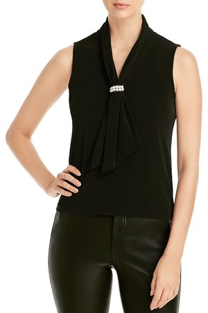 Karl Lagerfeld Draped Embellished Sleeveless Top