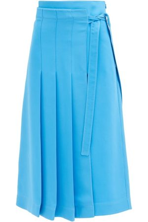 VALENTINO Cady Couture Knife-pleat Silk Midi Skirt - Womens - Light