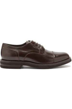 Brunello Cucinelli Toe-cap Leather Derby Shoes - Mens - Dark
