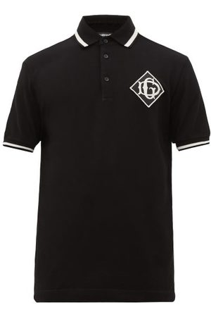 Dolce & Gabbana Embroidered Monogram-patch Cotton-piqué Polo Shirt - Mens