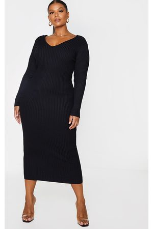 PRETTYLITTLETHING Plus Off Shoulder Rib Knitted Midaxi Dress