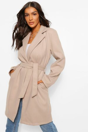 Boohoo Womens Belted Wool Look Coat - - 4