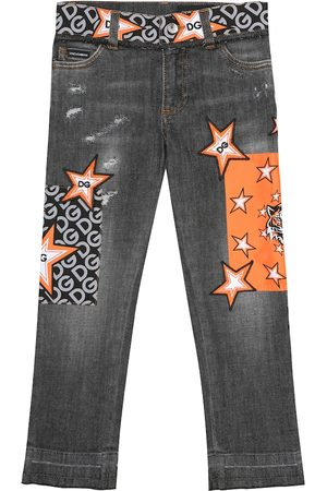 Dolce & Gabbana Embroidered stretch-cotton jeans