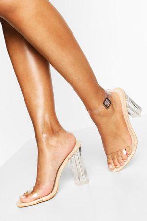 Boohoo Womens Wide Width Clear Heel 2 Part - - 5