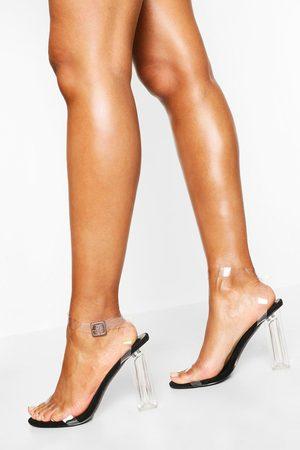 Boohoo Women Heels - Womens Wide Width Clear Heel 2 Part - - 5