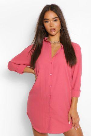 Boohoo Womens Oversized Dippped Hem Shirt Dress - - 4