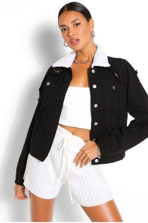 Boohoo Womens Distressed Borg Collar Jean Jacket - - 2