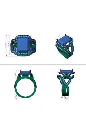 SuperJeweler 14kwg 3/4 Carat diamond & Color Stone Engagement & Wedding Ring SET