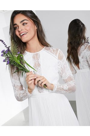 ASOS Women Party Dresses - Iris long sleeve lace bodice maxi wedding dress with pleated skirt