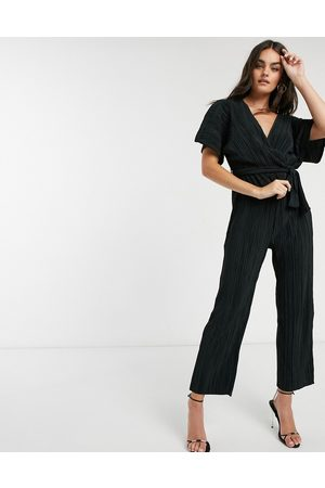 Y.A.S Wrap jumpsuit with kimono sleeve in plisse