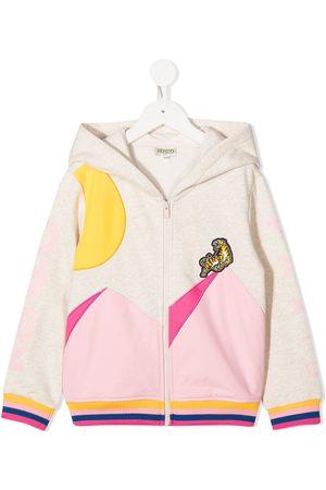 Kenzo Tiger patch zip-up hoodie - Neutrals