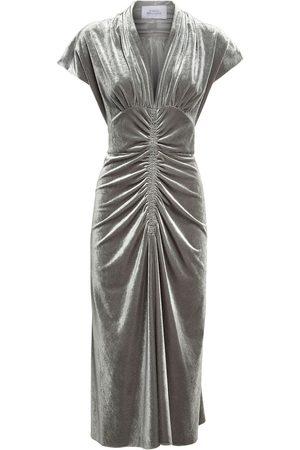 LUISA BECCARIA Ruched Velvet Midi Dress