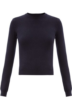 EXTREME CASHMERE No.98 Kid Round-neck Stretch-cashmere Sweater - Womens - Navy