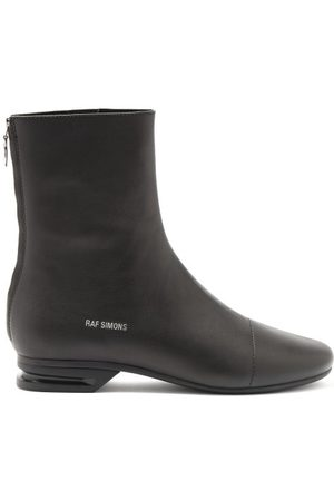 RAF SIMONS Men Boots - Notched-heel Zipped Leather Boots - Mens