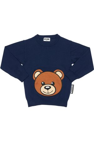 Moschino Cotton Blend Knit Sweater W/ Teddy Bear