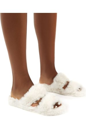 Public Desire US Teddi Fluffy Double Strap Slider Faux Fur Slipper - US 5