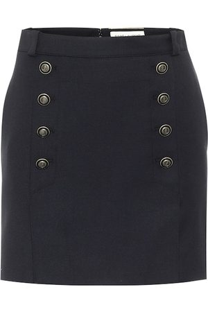 Saint Laurent High-rise virgin wool miniskirt