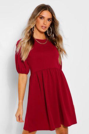 Boohoo Womens Puff Sleeve Smock Dress - - 4