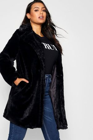Boohoo Womens Plus Collared Faux Fur Coat - - 12