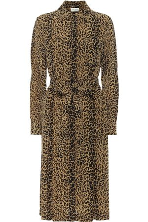 Saint Laurent Leopard-print silk shirt dress